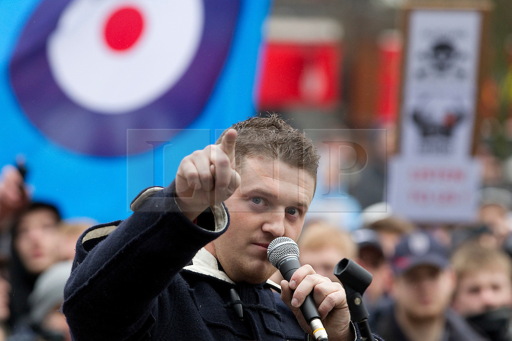 © licensed to London News Pictures. FILE PICTURE OF STEPHEN LENNON AT AN EDL RALLY IN LUTON DATED 05/02/2011. UK 24/04/2012. Campaigning organisation Hope Not Hate report that EDL leader Stephen Yaxley Lennon (aka Tommy Robinson) is to be appointed deputy leader of the British Freedom Party. Please see special instructions for usage rates. Photo credit should read Joel Goodman/LNP
