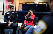 MILWAUKEE, WI – MARCH 28: Uquasia Earth, right, speaks about her experience about police interactions during a Zeidler Center Police and Resident Discussion circle at Grace Fellowship Church on Monday, March 28, 2016.