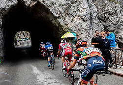 Radoslav Rogina (CRO) of Adria Mobil, Joan Bou Company (ESP) of Nippo - Vini Fantini - Faizane and supporters at Predmeja during 4th Stage of 26th Tour of Slovenia 2019 cycling race between Nova Gorica and Ajdovscina (153,9 km), on June 22, 2019 in Slovenia. Photo by Vid Ponikvar / Sportida