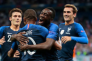 Kylian Mbappe (FRA) scored a goal and celebrated it with Blaise Matuidi (FRA), Antoine Griezmann (FRA), Benjamin Pavard (FRA) during the UEFA Nations League, League A, Group 1 football match between France and Netherlands on September 9, 2018 at Stade de France stadium in Saint-Denis near Paris, France - Photo Stephane Allaman / ProSportsImages / DPPI