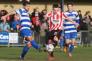 Adriano Santiago and Ryan Jennings during the FA Trophy match between Oxford City and Cheltenham Town at Court Place Farm, Oxford, United Kingdom on 16 January 2016. Photo by Antony Thompson.