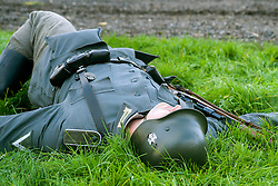 A Re-enactor portrayiing a German infantryman plays dead during a battle battle re-enactment in on Pickering Showground<br /> <br /> 17/18 October 2015<br />  Image © Paul David Drabble <br />  www.pauldaviddrabble.co.uk