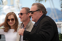 Actress Isabelle Huppert, director Guillaume Nicloux  and actor Gerard Depardieu at the Valley Of Love  film photo call at the 68th Cannes Film Festival Friday 22nd May 2015, Cannes, France.