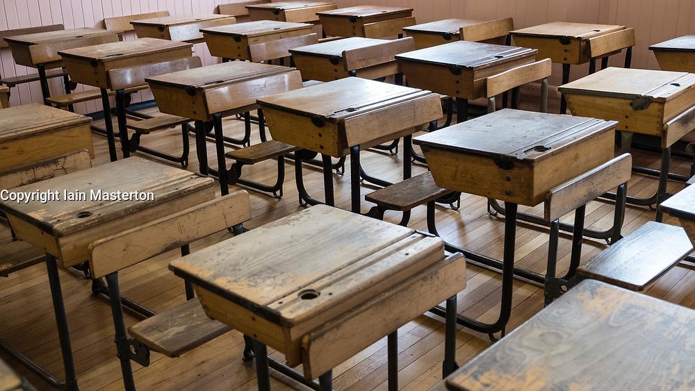 Old fashioned classroom inside Scotland Street School , designed by Charles Rennie Mackintosh, in Glasgow, Scotland, United Kingdom
