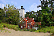 The Presque Isle Lighthouse On A Warm Summer Afternoon Along Lake Erie At Erie Pennsylvania, USA