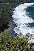 View of black sand beach from Waipi'o lookout, on the north-eastern Hamakua Coast of Big Island, Hawaii