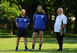 Yeovil Town Coaches Darren Way and Terry Skiverton and Manager Paul Sturrock look on. - Photo mandatory by-line: Harry Trump/JMP - Mobile: 07966 386802 - 03/07/15 - SPORT - FOOTBALL - Pre Season - Yeovil Town Training - Sherborne School, Dorset, England.