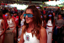 October 21, 2017 - Los Angeles, California, U.S. - Los Angeles Clippers cheerleaders prior to a NBA basketball game between the Phoenix Suns and the Los Angeles Clippers at the Staples Center on Saturday, Oct 21, 2017 in Los Angeles. .(Photo by Keith Birmingham, Pasadena Star-News/SCNG) (Credit Image: © San Gabriel Valley Tribune via ZUMA Wire)