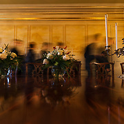 Mountaineer Challenge Academy students move past a mural drawn onto a canvas on the wall in the dining room area at the Governor's Mansion in Charleston, W.Va., on Tuesday, December 05, 2017.