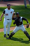 Image © 2005 David Richard<br />Cleveland Indians catcher Victor Martinez and closer Bob Wickman.