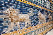Lion of The tiled Ishtar Gate of Babylon (Iraq) Pergamon Museum, Berlin, Germany,