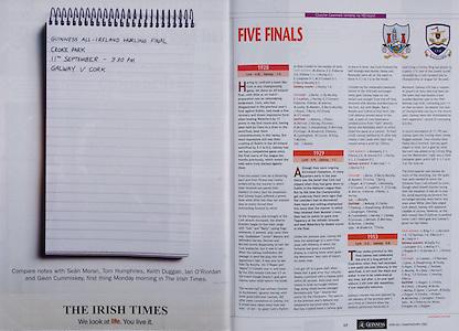 All Ireland Senior Hurling Championship - Final,.11.09.2005, 09.11.2005, 11th Septemeber 2005,.Minor Galway 3-12, Limerick 0-17,.Senior Cork 1-21, Galway 1-16,.11092005AISHCF,.The Irish Times, .