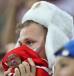 SOCHI, July 7, 2018  A fan of Russia reacts after the 2018 FIFA World Cup quarter-final match between Russia and Croatia in Sochi, Russia, July 7, 2018. Croatia won 6-5 (4-3 in penalty shootout) and advanced to the semi-finals. (Credit Image: © Yang Lei/Xinhua via ZUMA Wire)
