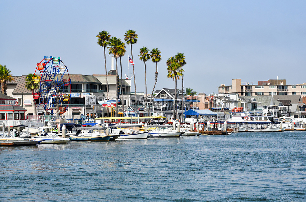 Boats at Dock with the Balboa Fun Zone and Ferris Wheel