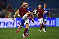 Miralem Pjanic Roma Lorenzo De Silvestri Sampdoria <br /> Roma 16-03-2015 Stadio Olimpico Football Calcio Serie A 2014/2015 AS Roma - Sampdoria . Foto Andrea Staccioli / Insidefoto