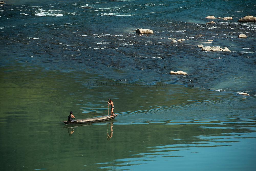 Siyom River & Adi Gallong Canoe<br /> Adi Gallong Tribal region<br /> Arunachal Pradesh<br /> North East India