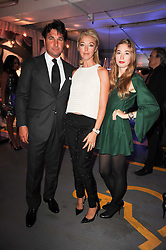 Left to right, GIORGIO & TAMARA VERONI and her daughter ANOUSHKA BECKWITH at a party to celebrate 150 years of TAG Heuer held at the car park at Selfridge's, London on 15th September 2010.