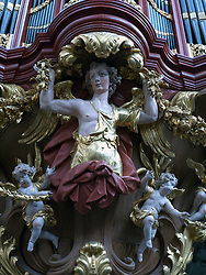 The famous organ in Sint-Bavokerk (or St Bavo's churchl), Haarlem, Netherlands