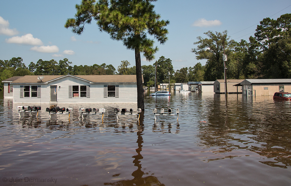 A flooded mobile homes in Vidor, Texas, a small town near Beaumont, hit hard by Hurricane Harvey. The water continued to rise on  Sept. 1, after Harvey's rain stopped.