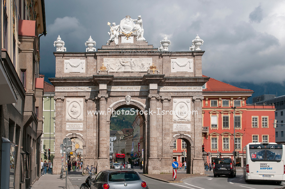 Austria, Tyrol, Innsbruck View of the Triumphal Arch Triumphpforte on Maria Theresien Strasse erected by Maria Theresa in 1765