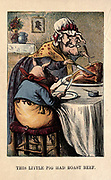 This little pig Had Roast Beef From the book ' A apple pie and other nursery tales : forty-eight pages of illustrations : printed in colours by Kronheim & Co ' Published by  : George Routledge and Sons 1870