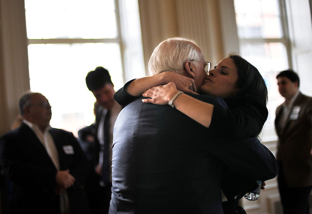 Former Connecticut U.S. Rep. Christopher Shays is hugged by his daughter Jeramy after formally announcing he is running as a Republican candidate for U.S. Senate at the Old State House in Hartford, Conn., Wednesday, Jan. 25, 2012.  Shays joins four others seeking the GOP nomination.  (AP Photo/Jessica Hill)