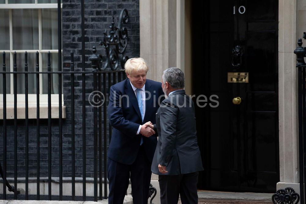 Prime Minister Boris Johnson meets King Abdullah II of Jordan  for bilateral talks at 10 Downing Street on 7 August, 2019 in London, United Kingdom.