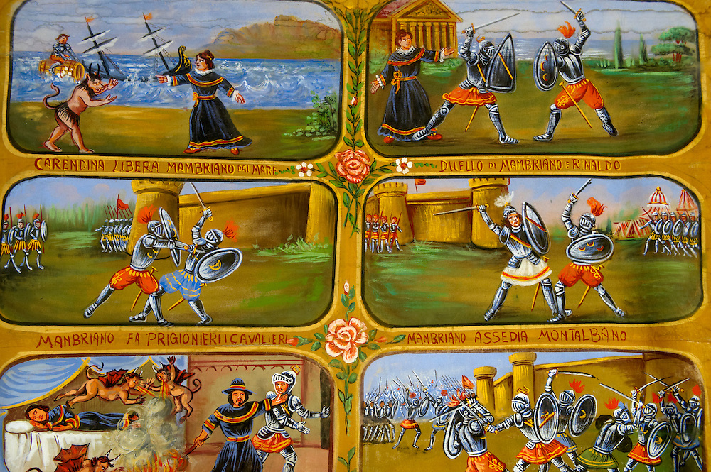 Folk art paintings depicting Sicilian historical stories, Palermo Pupet museum, Sicily .<br /> <br /> Visit our SICILY HISTORIC PLACES PHOTO COLLECTIONS for more   photos  to download or buy as prints https://funkystock.photoshelter.com/gallery-collection/2b-Pictures-Images-of-Sicily-Photos-of-Sicilian-Historic-Landmark-Sites/C0000qAkj8TXCzro