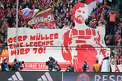 04.11.2015, Allianz Arena, Muenchen, GER, UEFA CL, FC Bayern Muenchen vs FC Arsenal, Gruppe F, im Bild Fans (FC Bayern Muenchen) bit Banner Gerd Mueller Geburtstag // during the UEFA Champions League group F match between FC Bayern Munich and FC Arsenal at the Allianz Arena in Muenchen, Germany on 2015/11/04. EXPA Pictures © 2015, PhotoCredit: EXPA/ Eibner-Pressefoto/ Kolbert<br /> <br /> *****ATTENTION - OUT of GER*****