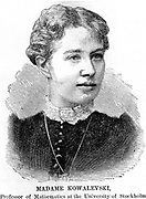 Sonia (or Sophie) Kowalevski (or Kowalevski), Russian mathematician, (1850-1891).  She was appointed professor of mathematics at Stockholm in 1884.  Women were not normally permitted to study in this field at that time. They were barred from even unofficial or occasional attendance of lectures. She wrote novels. Her 'Vera Barantzova' translated was into English in 1895. From 'Scientific American', (New York, 1888). Engraving.
