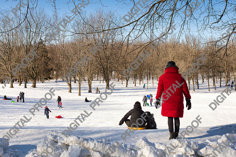 January 09, 2021 - Montreal, Canada People doing winter sliding in park Mont-Royal during daytime