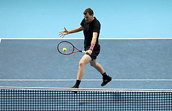 Jamie Murray in action during his doubles match during day two of the NITTO ATP World Tour Finals at the O2 Arena, London.