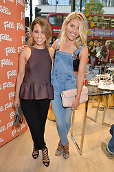 Left to right, RACHEL STEVENS and MOLLIE KING at the launch the Folli Follie Flagship store at 493 Oxford Street, London on 28th May 2015.