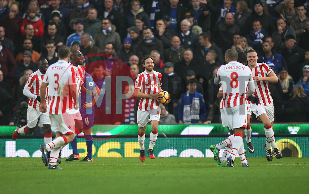 Joe Allen of Stoke City (C) celebrates scoring his sides second goal - Mandatory by-line: Jack Phillips/JMP - 17/12/2016 - FOOTBALL - Bet365 Stadium - Stoke-on-Trent, England - Stoke City v Leicester City - Premier League