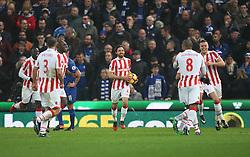 Joe Allen of Stoke City (C) celebrates scoring his sides second goal - Mandatory by-line: Jack Phillips/JMP - 17/12/2016 - FOOTBALL - Bet365 Stadium - Stoke-on-Trent, England - Stoke City v Leicester City - Premier League