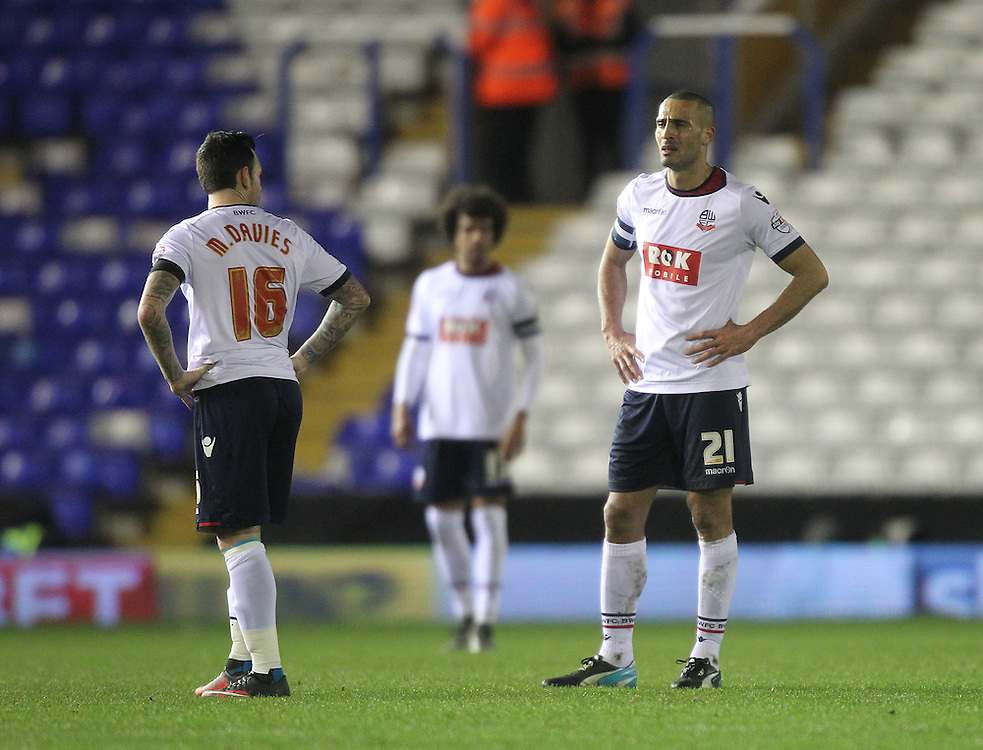 Bolton Wanderers players look dejected<br /><br />Photographer Mick Walker/CameraSport<br /><br />Football - The Football League Sky Bet Championship - Birmingham City v Bolton Wanderers - Tuesday 23rd February 2016 -  St Andrews - Birmingham<br /><br />© CameraSport - 43 Linden Ave. Countesthorpe. Leicester. England. LE8 5PG - Tel: +44 (0) 116 277 4147 - admin@camerasport.com - www.camerasport.com