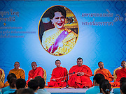 11 AUGUST 2015 - BANGKOK, THAILAND: Buddhist monks lead a service to honor Queen Sirikit of Thailand before her 83rd birthday. Queen Sirikit was born Mom Rajawongse Sirikit Kitiyakara on August 12, 1932. She is the queen consort of Bhumibol Adulyadej, King (Rama IX) of Thailand. She met Bhumibol in Paris, where her father was the Thai ambassador. They married in 1950, she was appointed Queen Regent in 1956. The King and Queen had one son and three daughters. She has not made any public appearances since her hospitalization in 2012. Her birthday is celebrated as Mother's Day in Thailand, schools and temples across Thailand hold ceremonies to honor the Queen and mothers.      PHOTO BY JACK KURTZ