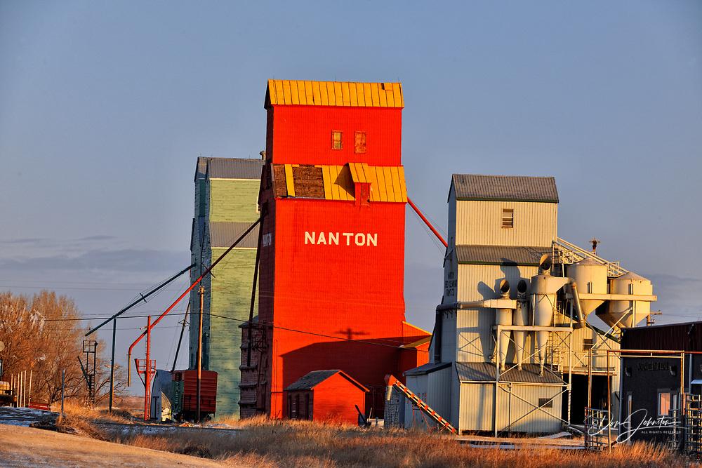 Traditional grain elevators, Nanton, Alberta, Canada