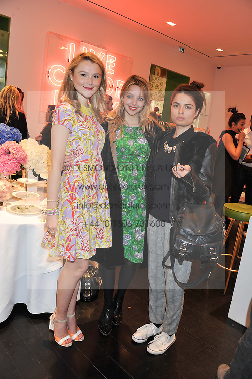 Left to right, AMBER ATHERTON, GRETA BELLAMACINA and JENNIFER MEDHURST at the Kate Spade NY hosted Chelsea Flower Show Tea Party held at Kate Spade, 2 Symons Street, London on 23rd May 2013.