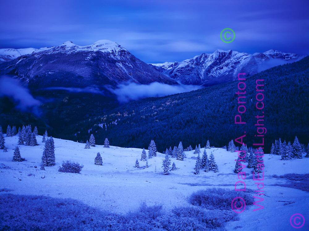 Fresh snow on high mountain landscape at twilight, San Juan Mountains, Colorado, © David A. Ponton