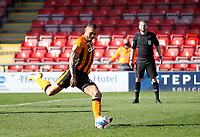 Hull City's Josh Magennis scores his side's first goal   from the penalty spot<br /> <br /> Photographer Mick Walker/CameraSport<br /> <br /> The EFL League 1 - Crewe Alexandra v Hull City  - Friday 2nd April  2021 - Alexandra Stadium-Crewe<br /> <br /> World Copyright © 2020 CameraSport. All rights reserved. 43 Linden Ave. Countesthorpe. Leicester. England. LE8 5PG - Tel: +44 (0) 116 277 4147 - admin@camerasport.com - www.camerasport.com