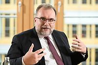 03 MAY 2021, BERLIN/GERMANY:<br /> Siegfried Russwurm, Praesident Bundesverband der Deutschen Industrie, BDI, und Aufsichtsratschef Thyssenkrupp, waehrend einem Interview, BDI, Haus der Wirtschaft<br /> IMAGE: 20210503-02-034