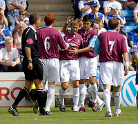 Photo: Daniel Hambury.<br />Gillingham v West Ham United. Pre Season Friendly. 29/07/2006.<br />West Ham's Teddy Sheringham (centre) celebrates scoring the first goal.