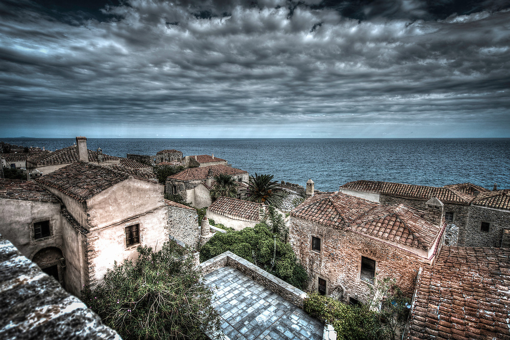 View of the sea over the rooftops in Monemvasia