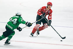 Aljosa Crnovic of HDD Jesenice vs PLANKO David of HDD Olimpija during 500th derbi between HK SZ Olimpija Ljubljana vs HDD SIJ Acroni Jesenice  - AHL 2019/20, on the 26th of  Oktober, Ljubljana, Slovenia. Photo by Matic Ritonja / Sportida