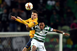 LISBON, April 13, 2018  Saul Niguez (L) of Atletico vies with Gelson Martins of Sporting during the Europa League quarterfinal second leg soccer match between Sporting CP and Club Atletico de Madrid at the Jose Alvalade stadium in Lisbon, Portugal, on April 12, 2018. Sporting won 1-0 but was eliminated by a 1-2 on aggregate. (Credit Image: © Zhang Liyun/Xinhua via ZUMA Wire)
