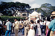 Hosay celebration, also Husayn or Hussein, Shia Muslim remembrance of Muharram, drumming and procession of tadjah floats model mausoleums or Mosque shaped model tombs, Trinidad 1961
