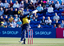 Jeremy Lawlor of Glamorgan hits a hits a four<br /> <br /> Photographer Simon King/Replay Images<br /> <br /> Vitality Blast T20 - Round 1 - Glamorgan v Somerset - Thursday 18th July 2019 - Sophia Gardens - Cardiff<br /> <br /> World Copyright © Replay Images . All rights reserved. info@replayimages.co.uk - http://replayimages.co.uk