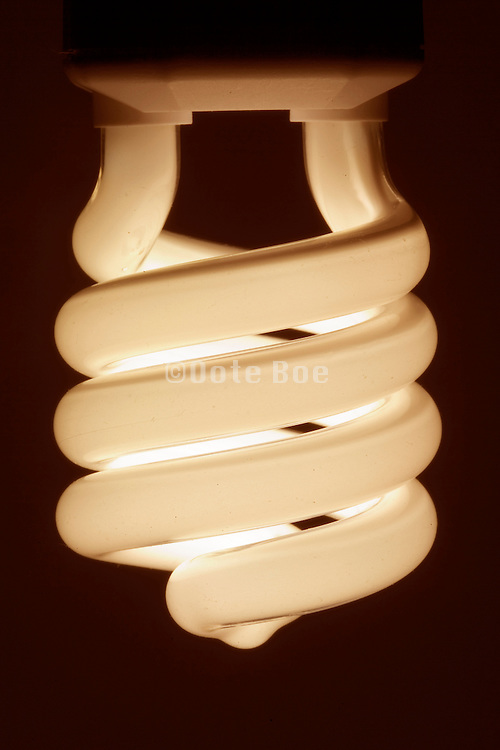 close up of an illuminated energy savings light bulb