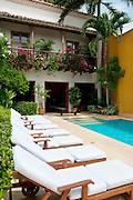 Colonial house courtyard, Cartagena de Indias, Bolivar Department,, Colombia, South America.